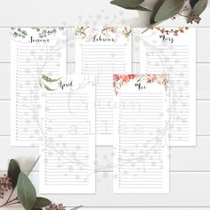 Printable Planner, Printables, Rgb Color Space, Birthday Name, Birthday Calendar, Name Day, Important Dates, Watercolor Flowers, Planer