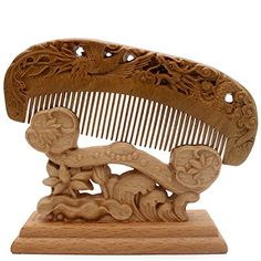 YOY Handmade Carved Natural Sandalwood Hair Comb Antistatic No Snag Brush for Mens Mustache Beard Care Anti Dandruff Women Girls Head Hair Accessory HC1010 -- Be sure to check out this awesome product.