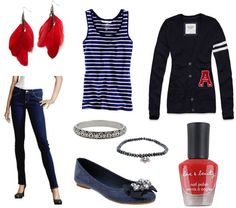 Outfit inspired by Patriots (Super Bowl). Not a sports fan myself, but it's a cute ensemble. :) Could do without the cardigan though.