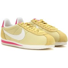 Nike Classic Cortez Sneakers (1.331.890 IDR) ❤ liked on Polyvore featuring shoes, sneakers, yellow, yellow sneakers, nike, nike footwear, nike shoes and yellow shoes