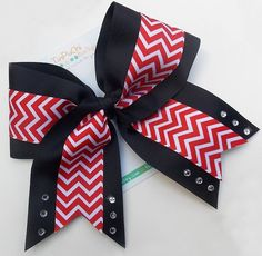 Black with Red Chevron 6 Cheer Bow with silver by TinPuChiBoutique, $12.50