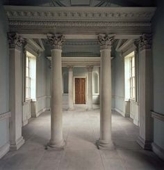Chiswick Villa, upper floor of link building to demolished Chiswick House Roman Columns, House Design, Interior And Exterior, House, Interior, London Interior, Beautiful Interiors, Georgian Architecture, Marble Columns
