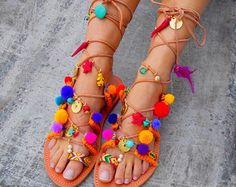 2f567740bb3758 Tie Up Gladiator Sandals  Blueberry Daiquiri  Pom Pom Boho Sandals