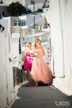 Walking to the terrace, my real wedding in Santorini.
