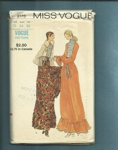 1960's Vogue 8170 Palazzo Pants Evening Length by MrsWooster, $18.00