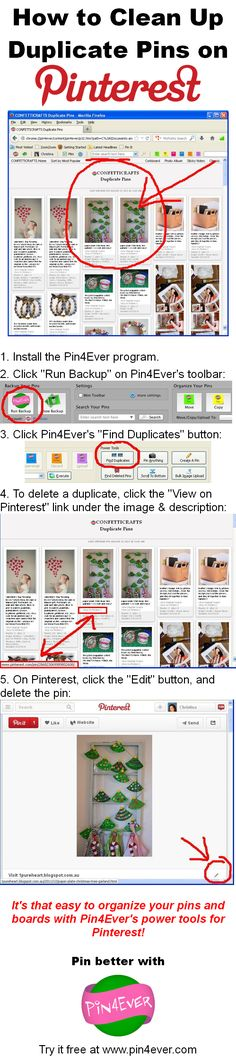 """How to Clean Up Duplicate Pins on Pinterest, using Pin4Ever's """"Find Duplicates"""" feature! Organize your boards the fast and easy way with our Pinterest power tools. Try them free for a week at www.pin4ever.com"""