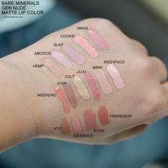 Bare minerals gen nude matte liquid lipstick collection //all colors Lipstick Swatches, Nude Lipstick, Makeup Swatches, Matte Lips, Lipstick Colors, Lip Colors, Mac Lipsticks, Makeup Dupes, Makeup Lipstick