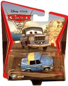 Disney / Pixar CARS 2 Movie 1:55 Die Cast Car Otis by Mattel. $14.50. All your favorite characters from the Disney Pixar film, CARS 2, in 1:55th scale. With authentic styling and details, these die cast characters are perfect for recreating all the great scenes from the movie. Collect them all!Star racecar Lightning McQueen and the incomparable tow truck Mater take their friendship to exciting new places in Disney Pixar Cars 2 when they head overseas to compete in th...
