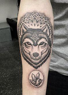 cool Wolf, Mandala & Crystal by Ben Lopez at Alchemy Tattoo Ormond, Victoria, Australia