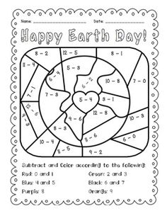 earth day subtract and color activity