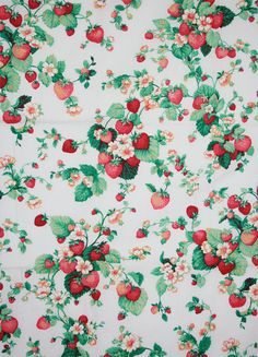 This listing is for a yardage of cotton fabric with lovely strawberry print. The cotton material is nice and soft and print is vibrant, but not Cute Wallpapers, Wallpaper Backgrounds, Strawberry Pictures, Strawberry Background, Strawberry Kitchen, Strawberry Patch, Vintage Tablecloths, Fruit Art, Background Vintage