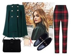 """""""Checked Trousers"""" by nejla1996 ❤ liked on Polyvore featuring Chloé, Gucci, Burberry, chic, look and gucci"""