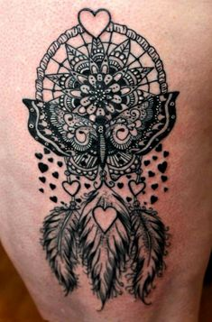 40 best butterfly dreamcatcher tattoos images in 2017 Butterfly Tattoo Cover Up, Butterfly Tattoo On Shoulder, Butterfly Tattoos For Women, Butterfly Tattoo Designs, Cover Tattoo, Tattoos For Women Small, Mandala Feather, Henna Mandala, Mandalas Painting