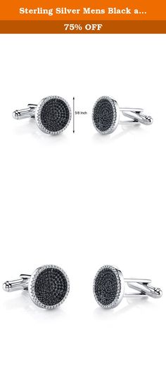 Sterling Silver Mens Black and White CZ Cocentric Cufflinks. Enhance your suit and tie with these dark and dazzling cufflinks. A shimmering sea of 272 micro pave set Black and White Brilliant Sparkling Cubic Zirconia. These sleek cufflinks features superb craftsmanship and finishing, each CZ is set with the aid of a microscope. Crafted from Sterling Silver. The Folding Back closures ensure ease of use and elegance. Dimensions: 1 inch x 5/8 inch x 5/8 inch. Includes a Free Gift Box and is…