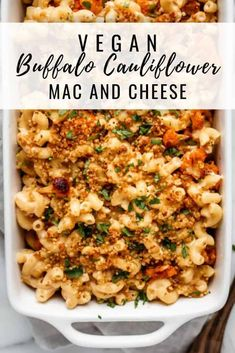 This vegan buffalo cauliflower mac and cheese recipe uses ingredients like cashews and nutritional yeast to make a creamy mac and cheese that is baked to perfection! Recipes Vegan buffalo cauliflower mac and cheese Vegan Dinner Recipes, Veggie Recipes, Whole Food Recipes, Cooking Recipes, Healthy Recipes, Vegan Crockpot Recipes, Easy Vegan Dinner, Vegan Califlower Recipes, Plant Based Recipes