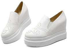 IDIFU Womens Dressy High Heel Wedge Heighten Platform Sneakers Slip On Round Toe Elastic Loafers White 105 BM US * You can find out more details at the link of the image.