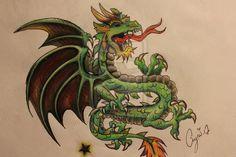 Jade Dragon - Freehand by Aymi by Aymi-Ambrosia.deviantart.com on @DeviantArt