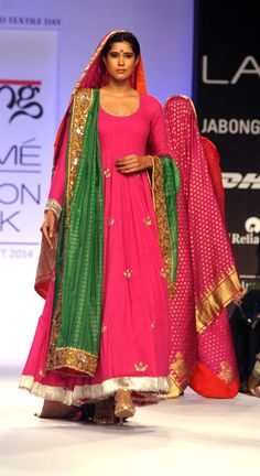 Gaurang Shah's hot pink long dress.