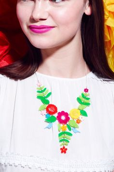 Mexican Embroidery Necklace - multicoloured