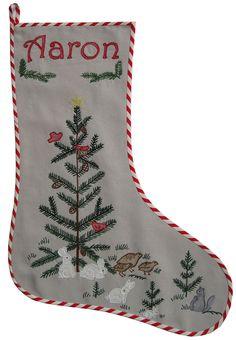 Embroidered christmas stocking woodland animals
