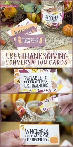 Free Thanksgiving Printable Conversation Cards - By Press Print Party! Even with the best of families we can easily forget how truly blessed we  really are. So this year, enjoy the meal and spark great conversation  with these free Thanksgiving printable conversation cards. You get 20 conversation cards and a printable label to wrap around a container of your choice. #freeprintable #thanksgiving Table conversations, conversation starters for kids and adults, ice breakers,Thanksgiving…