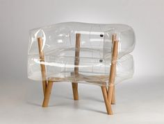 Anda armchair is an inflatable chair which features translucent, inflated parts, a wooden frame and legs and presents modern furniture design for contemporary nomads Inflatable Furniture, Inflatable Chair, Unique Furniture, Furniture Design, Rustic Furniture, Contemporary Furniture, Blow Up Furniture, Modern Contemporary, Weird Furniture
