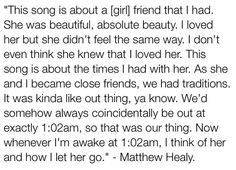 102. Always makes me cry, such a great song and Matty sings with such passion…