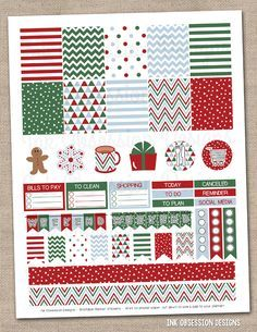 Christmas Printable Planner Stickers PDF Instant Download Planner Graphics in Red Green & Blue