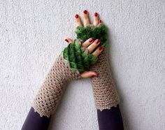 Fingerless Moss & Taupe Fall Mittens by mareshop