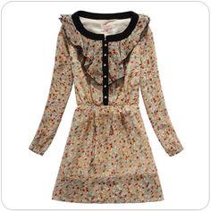 women clothing supplier online Chiffon Floral Dress k803 Apricot