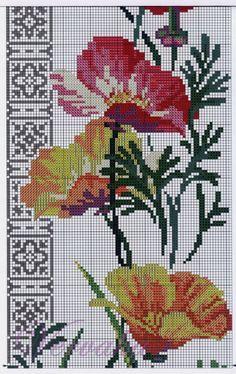 Cross stitch - flowers: California poppies (free pattern - chart - part B)