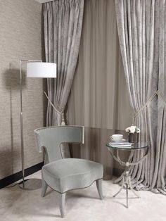 Adore the color palette I Walpole Mayfair by Oliver Burns Luxury Interior Design, Interior Ideas, Curtain Fabric, Curtains, London Property, Curtain Styles, Small Sofa, Window Treatments, Bar Stools
