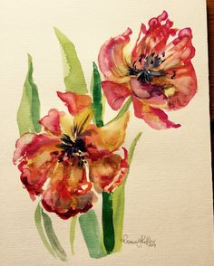 A quick watercolour of the French tulips in my kitchen just before they went over. They are sooo dramatic.