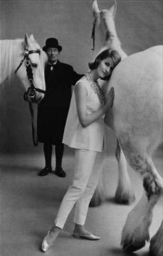 Model Judy Dent in British ready-to-wear fashions for Vogue UK, Yorkshire, 1961. Photo by Frank Horvat.