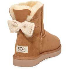 UGG Australia Mini Bailey Knit-Bow Boot ($170) ❤ liked on Polyvore featuring shoes, boots, ankle booties, ankle boots, lug sole boots, short boots, short knit boots, bootie boots and fur lined ankle boots