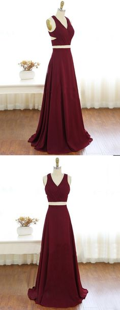 Prom dresses,long prom party dresses, cheap 2 pieces party dresses,chic V- neck party dresses.
