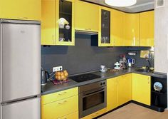 How to Make the Most of a Small Kitchen Space - Divine Renovations Summer Fun Design Inspiration Small - Yellow Kitchen Designs, Beautiful Kitchen Designs, Kitchen Colour Schemes, Color Schemes, Yellow Kitchen Cabinets, Kitchen Yellow, Summer Kitchen, Modern Cabinets, Rustic Kitchen