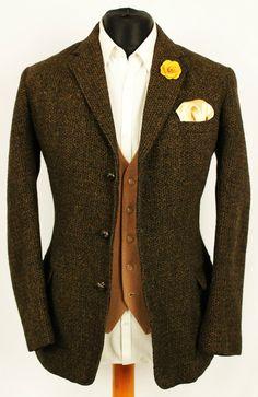 Mens Vintage Harris Tweed Wedding Country Hacking Blazer Jacket 38R SUPERB WEAVE