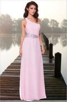 """One Shoulder Baby Pink Prom Dress"" #promdress #eveninggown #fashion #babypinkdress"