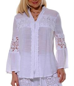 Ladies Long sleeve Lace Blouse. - Ladies Cotton Blouse.Ladies Gorgeous BlouseDelicate wash. Hand wash.Dry Clean for best resultAvailable in White.Size Chart available