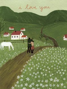 pastoral field of flowers farm houses horse couple love hills