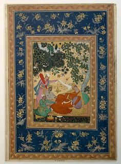 Siesta. Early 17th century. India, Deccan, Bijapur. Islamic. Ink, Opaque watercolor, and gold on paper.