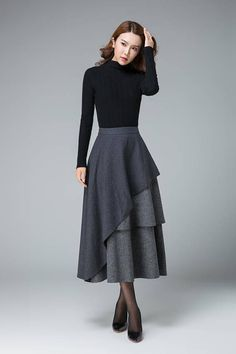 dark gray skirt layered skirt high waisted skirt womens