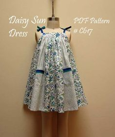 Girl's Dress Pattern and Sewing Tutorial. Daisy Sun Dress --- Children's PDF Sewing Pattern.. $7.95, via Etsy.