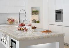 White Quartz Countertop - contemporary - kitchen countertops - miami - Marble of the World// this is really pretty, i love the sheen and warmth of this island top Cost Of Kitchen Countertops, Kitchen Countertop Materials, Quartz Countertops, Kitchen Island, Kitchen Worktops, Modern Countertops, Countertop Options, Kitchen Backsplash, Luxury Kitchens