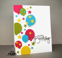 Bright, happy card! Stampin Up! colors: Melon Mambo, Daffodil Delight, Lucky Limeade, Tempting Turquoise. Papertrey stamp. Li'l Inker die.