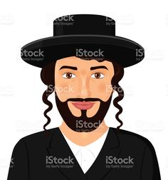 Orthodox jewish man portrait with hat in a black suit. Jerusalem. Israel. Avatar style vector Illustration isolated on white background. Сток Вектор Стоковая фотография