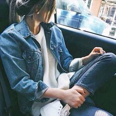denim jacket + knit sweater #topshop