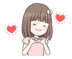 Little girl by Yukiko Ogawa sticker Love You Gif, Cute Love Gif, Cute Love Pictures, Cartoon Gifs, Cartoon Jokes, Cute Cartoon Wallpapers, Little Girl Cartoon, Little Girls, Animated Emoticons