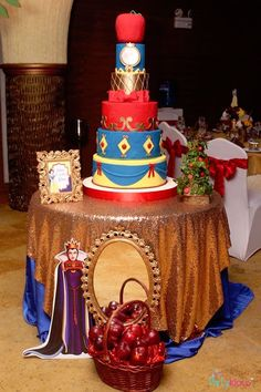 Cake table from a Snow White & The Seven Dwarfs Birthday Party on Kara's Party Ideas | KarasPartyIdeas.com (9)